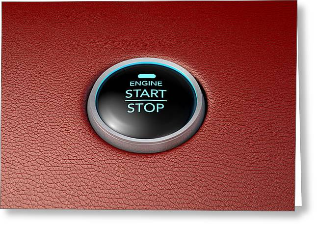 Push To Start Red Leather Button Greeting Card by Allan Swart