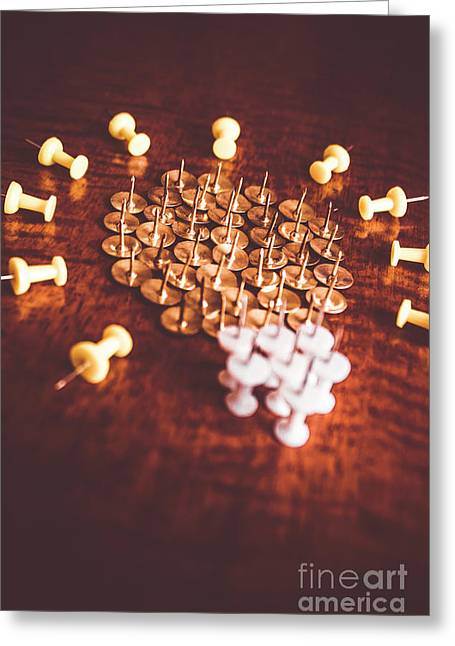 Pushpins And Thumbtacks Arranged As Light Bulb Greeting Card by Jorgo Photography - Wall Art Gallery