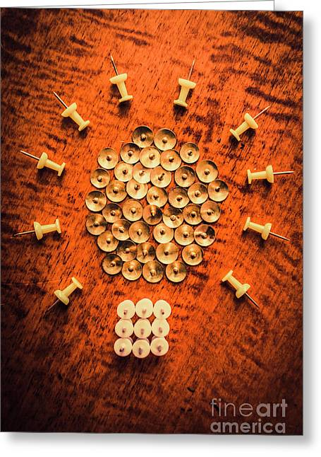 Pushpins Arranged In Light Bulb Icon Greeting Card by Jorgo Photography - Wall Art Gallery