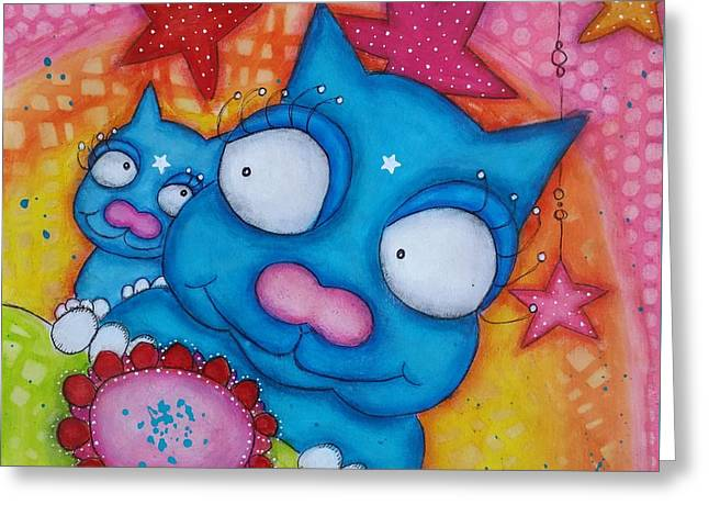 Puss And Cat Greeting Card
