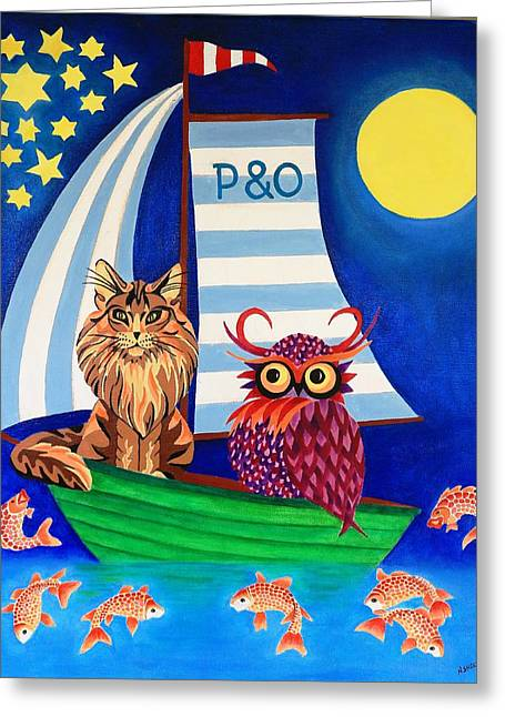 Pussy And Owl Greeting Card by Nicky Shelton
