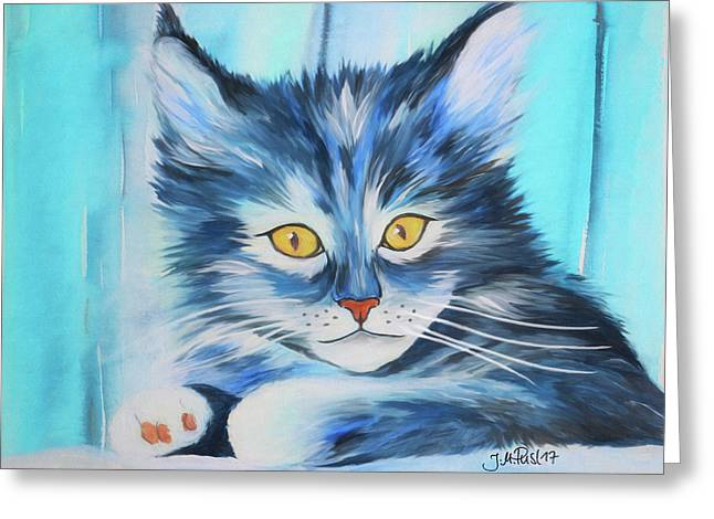 Greeting Card featuring the painting Pussy Cat by Jutta Maria Pusl