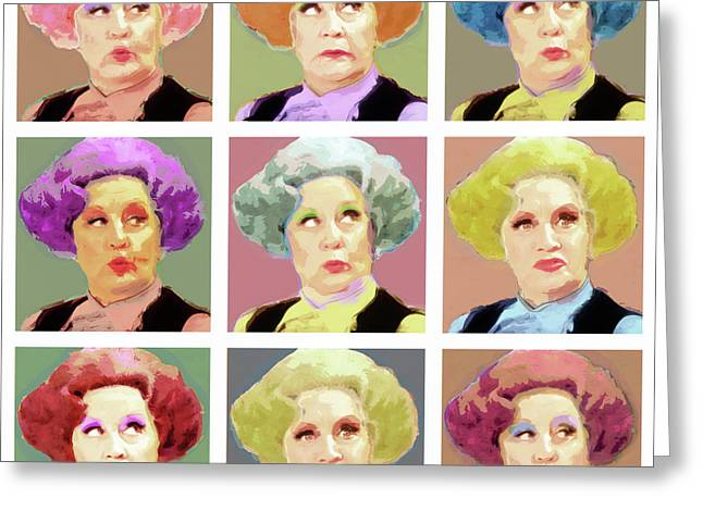 Pussy Galore - Nine Lives - Mollie Sugden Portrait, Are You Being Served? Greeting Card