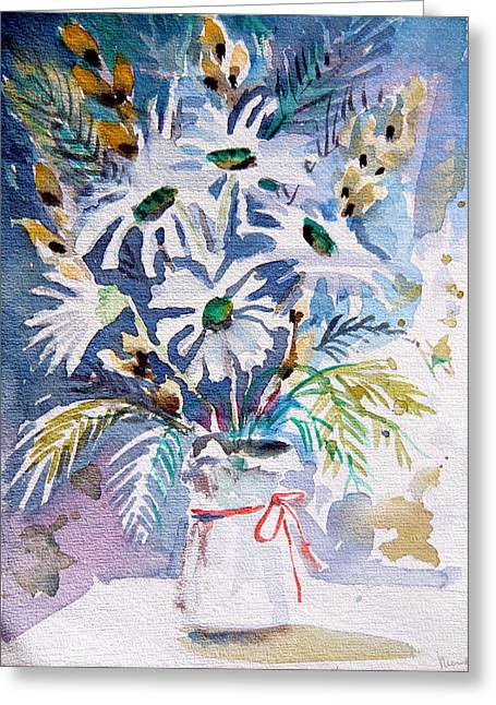 Pussy Willow And Daisies Greeting Card by Mindy Newman