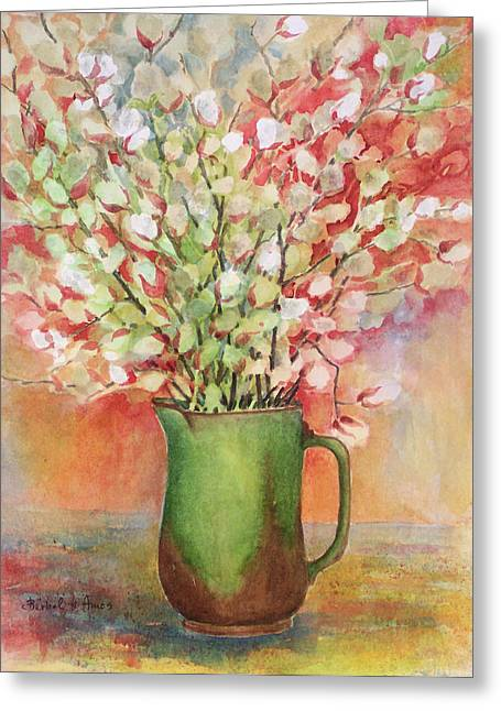 Pottery Pitcher Paintings Greeting Cards - Pussy Willow and Pitcher Greeting Card by Barbel Amos
