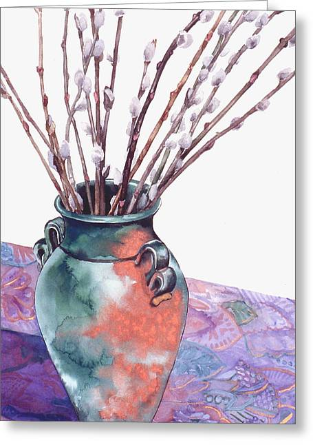 Pussy Willows Bouquet Greeting Card by Caron Sloan Zuger