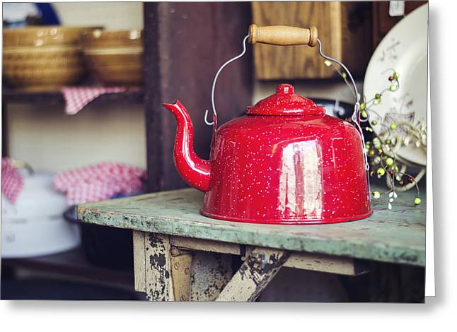 Put The Kettle On Greeting Card by Heather Applegate