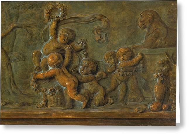 Putti Playing With A Garland Of Flowers Greeting Card