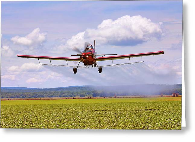 Putting It Down - Ag Pilot - Crop Duster Greeting Card by Jason Politte