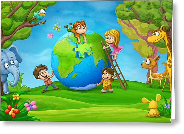 Puzzle World Greeting Card