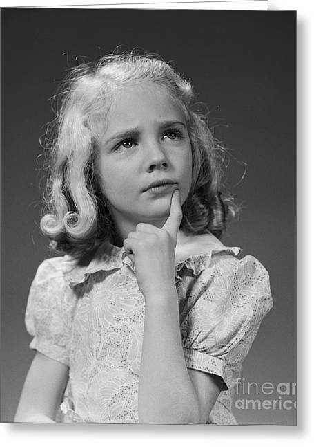 Puzzled Girl, C.1940s Greeting Card