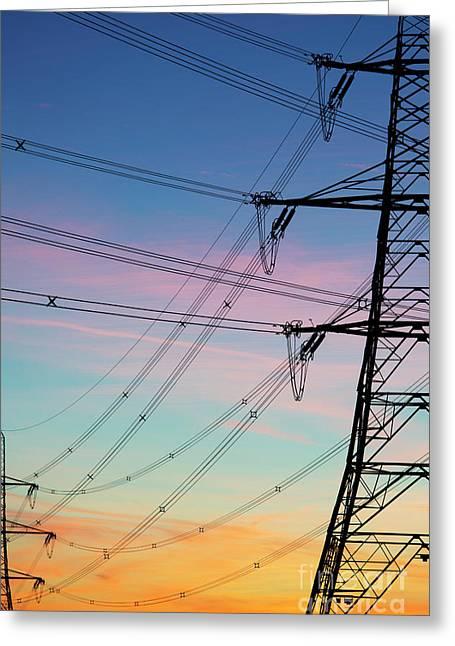Pylons At Dawn Greeting Card