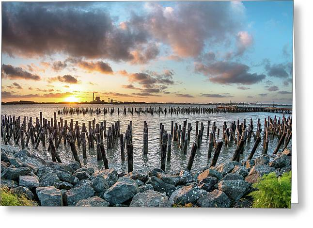 Pylons Mill Sunset Greeting Card by Greg Nyquist