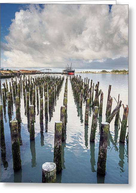 Greeting Card featuring the photograph Pylons To The Ship by Greg Nyquist