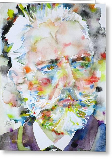 Pyotr Ilyich Tchaikovsky - Watercolor Portrait Greeting Card by Fabrizio Cassetta