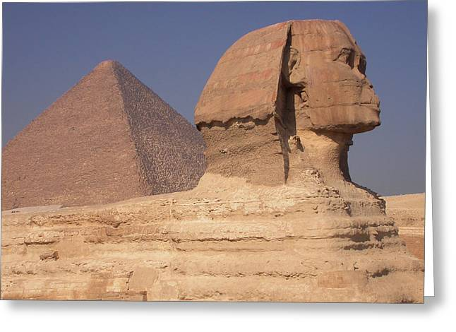 Pyramid And Sphinx Greeting Card by Mary Lane