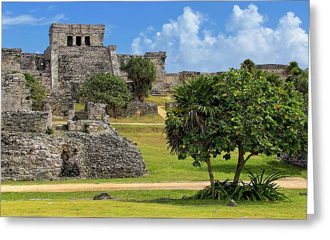 Greeting Card featuring the photograph Pyramid El Castillo - Tulum Mayan Ruins - Mexico by Jason Politte