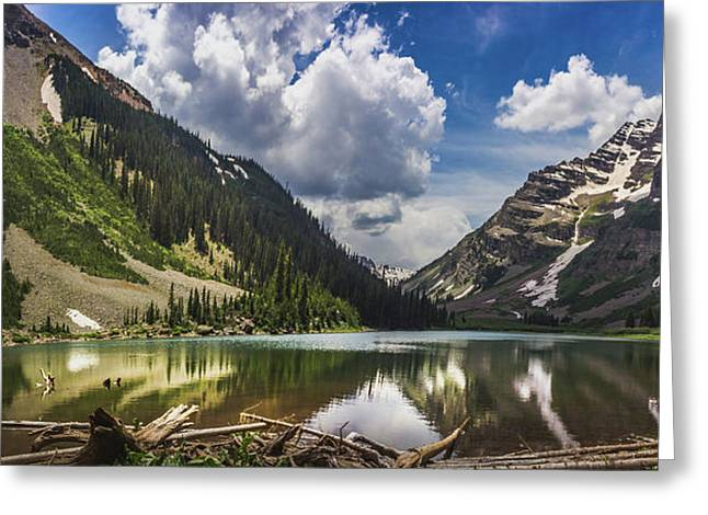 Pyramid Peak, Maroon Bells, And Crater Lake Panorama Greeting Card