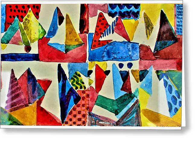 Greeting Card featuring the digital art Pyramid Play by Mindy Newman