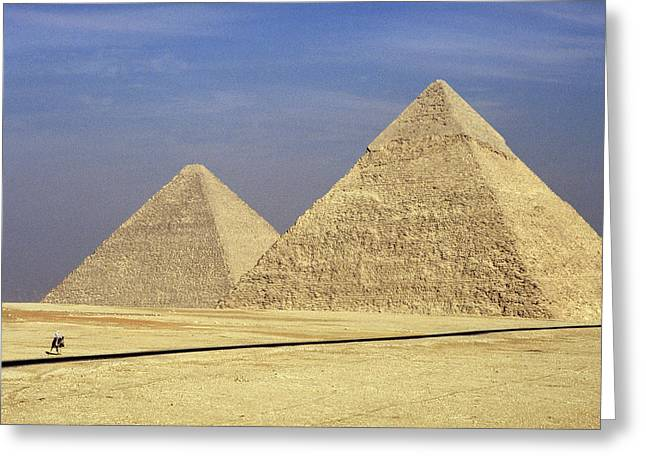 Pyramids At Giza Greeting Card by Mark Greenberg