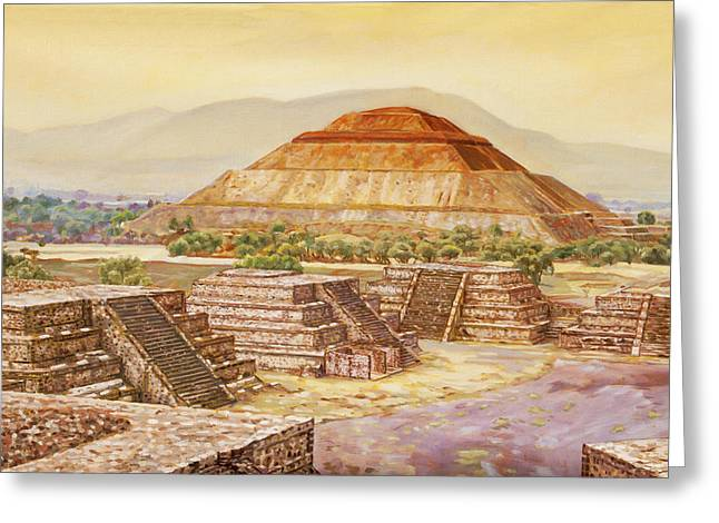 Pyramids At Teotihuacan Greeting Card by Dominique Amendola