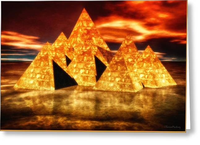 Pyramids In Warm Tones Greeting Card by Ramon Martinez