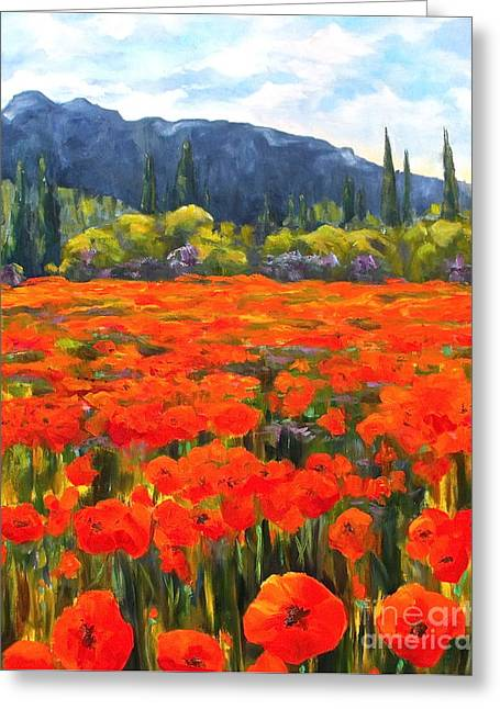 Pyrenees Poppies Greeting Card