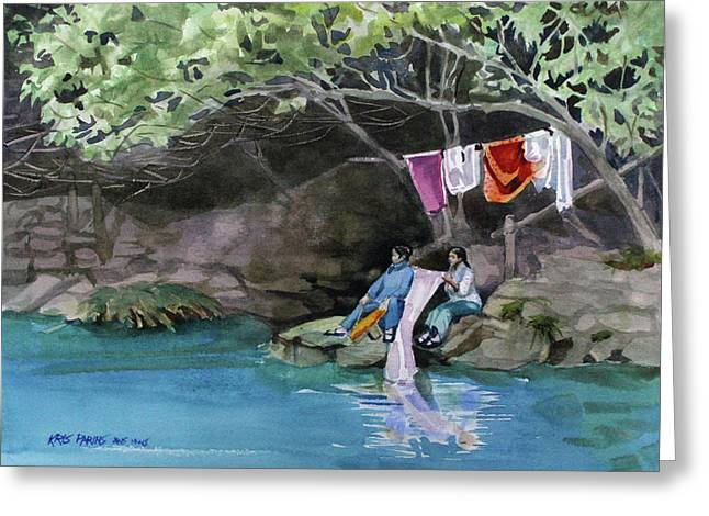 Laundry Day Greeting Card by Kris Parins