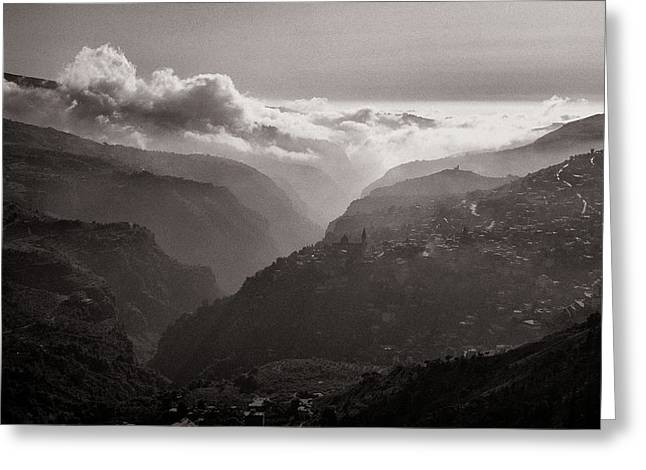 Qadicha Valley In The Spring Greeting Card by Tarek Charara