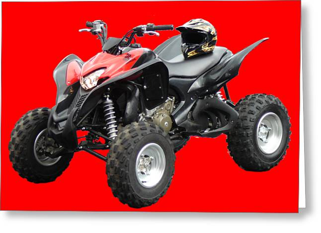 Quad Bike And Helmet Greeting Card
