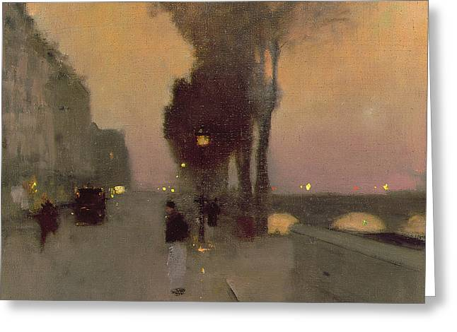 Quai Bourbon, Paris Greeting Card by Luigi Loir