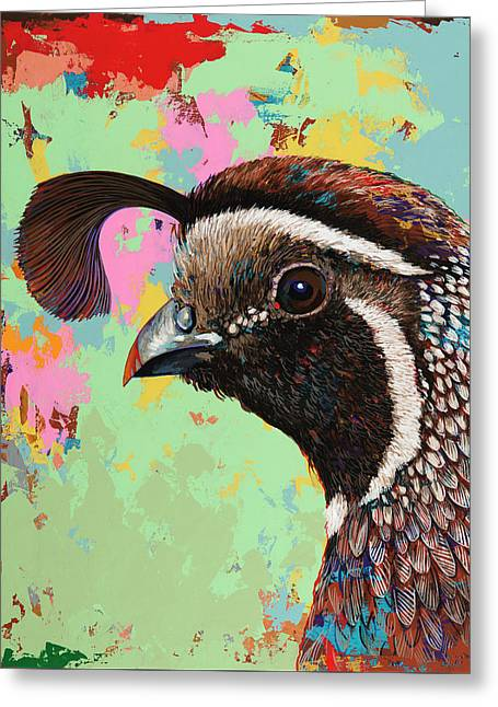 Greeting Card featuring the painting Quail by David Palmer