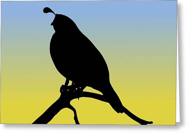 Quail Silhouette At Sunrise Greeting Card