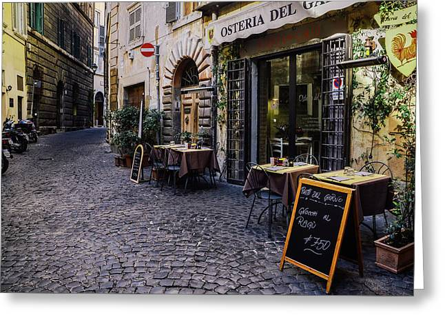 Quaint Cobblestones Streets In Rome, Italy Greeting Card