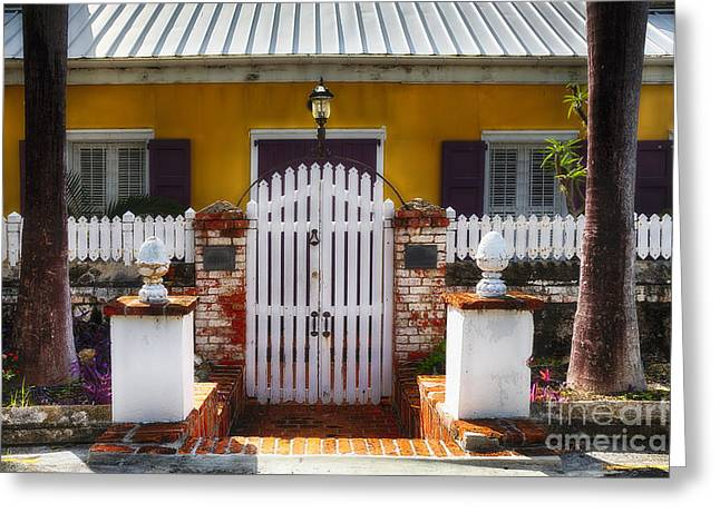 Quaint Colonial House In Charlotte Amalie Greeting Card by George Oze