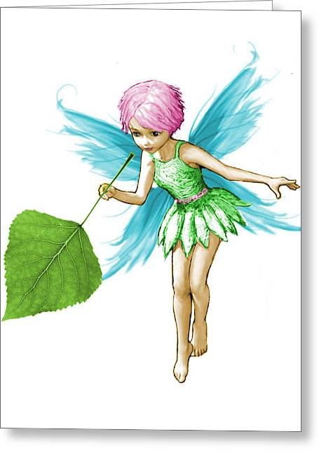 Quaking Aspen Tree Fairy Holding Leaf Greeting Card