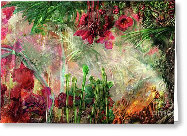 Greeting Card featuring the digital art Qualia's Jungle by Russell Kightley