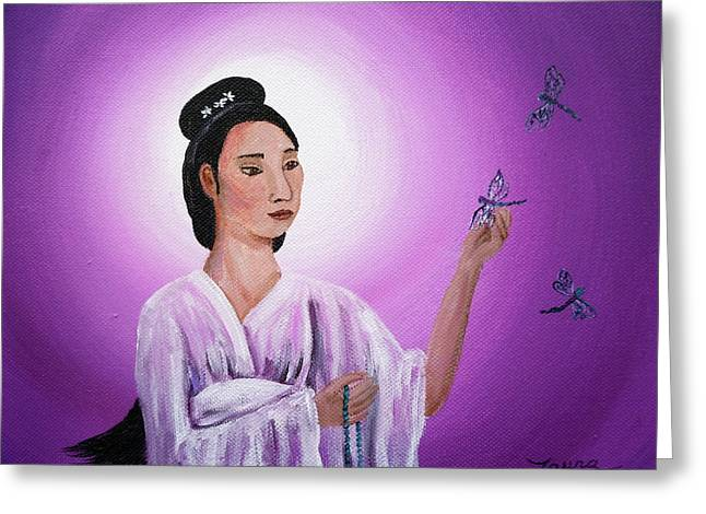 Quan Greeting Cards - Quan Yin with Three Dragonflies Greeting Card by Laura Iverson