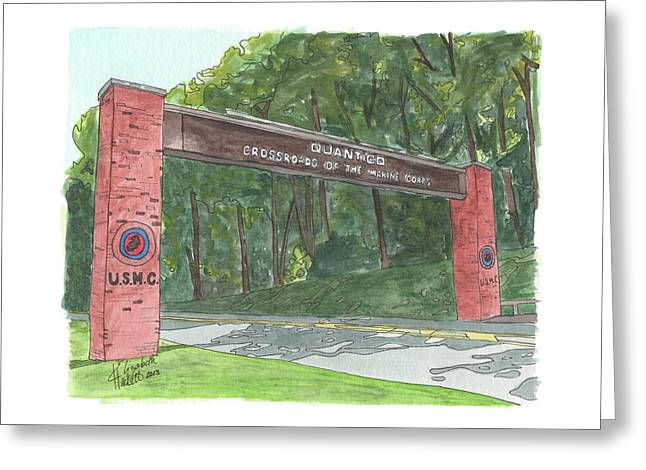Greeting Card featuring the painting Quantico Welcome by Betsy Hackett