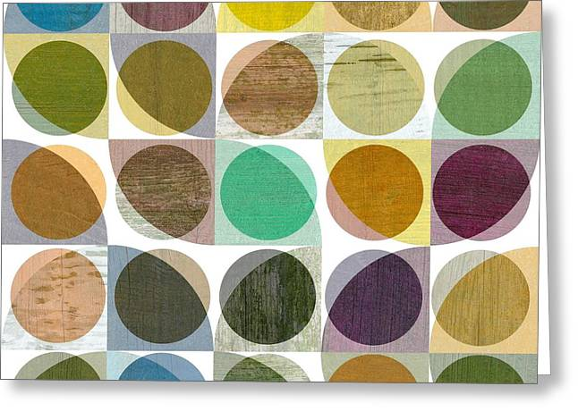 Greeting Card featuring the digital art Quarter Circles Layer Project One by Michelle Calkins