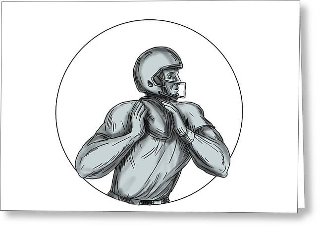 Quarterback Qb Throwing Football Tattoo Greeting Card by Aloysius Patrimonio