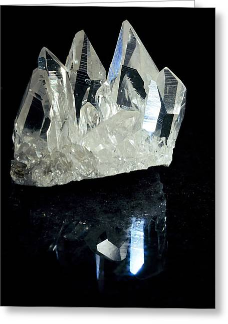 Mineral Photographs Greeting Cards - Quartz Crystals Greeting Card by Dirk Wiersma