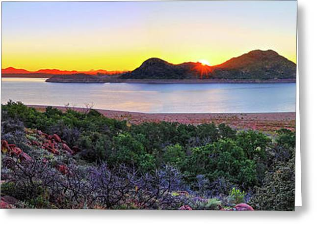 Quartz Mountains And Lake Altus Panorama - Oklahoma Greeting Card