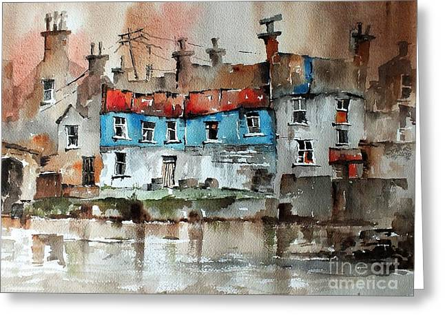 Quayside In Ennistymon Clare Greeting Card