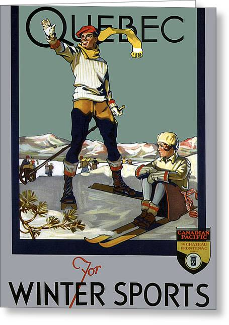 Quebec Canada For Winter Sports Vintage Travel  1930 Greeting Card
