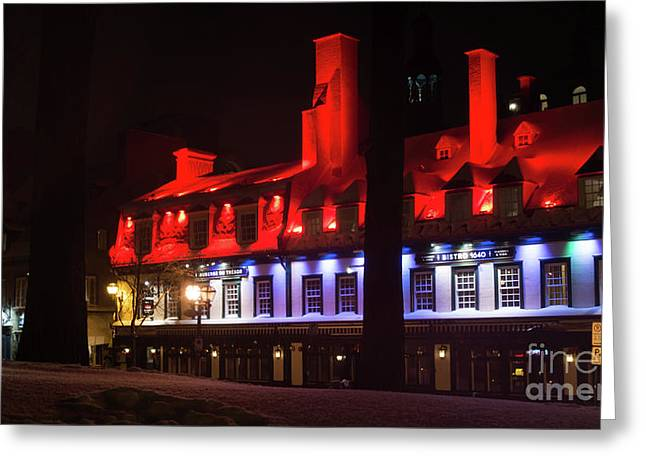 Quebec City At Night Bistro 1640 Greeting Card