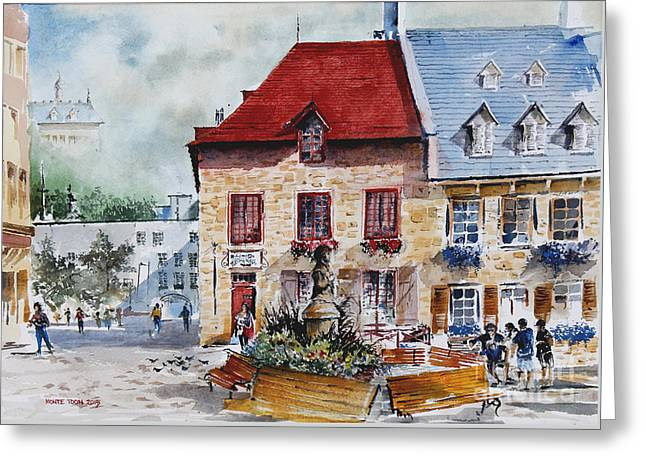 Quebec City Flower Boxes Greeting Card