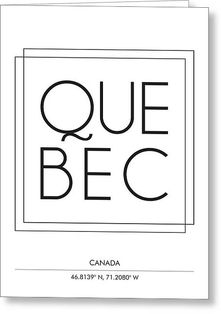 Quebec City Print With Coordinates Greeting Card
