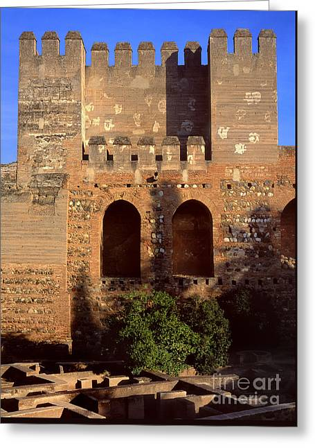 Quebrada Tower The Alcazaba The Alhambra Greeting Card by Guido Montanes Castillo