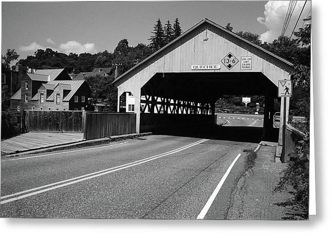 Quechee, Vermont - Covered Bridge 2006 Bw Greeting Card by Frank Romeo